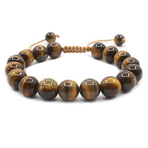 Mayting Pulsera Trenzada de 10 mm de Ojo de Tigre Natural Pulsera de Piedras Preciosas Ajustable para Hombres y Mujeres Curación Lucky Charm Bangle