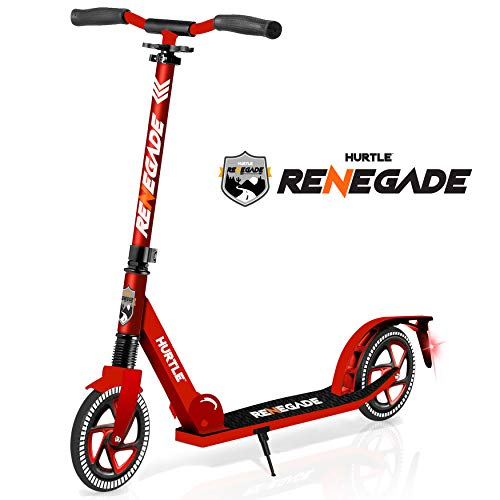 "Scooter – Scooter for Teenager – Kick Scooter – 2 Wheel Scooter with Adjustable TBar Handlebar – Folding Adult Kick Scooter with Alloy AntiSlip Deck – Scooter with 8"" Smooth Gliding Wheels by Hurtle"