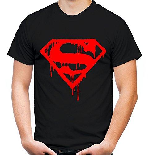 Superman Death Männer und Herren T-Shirt | Spruch Retro Comic Geschenk | Roter Druck (XXXXL, Schwarz)