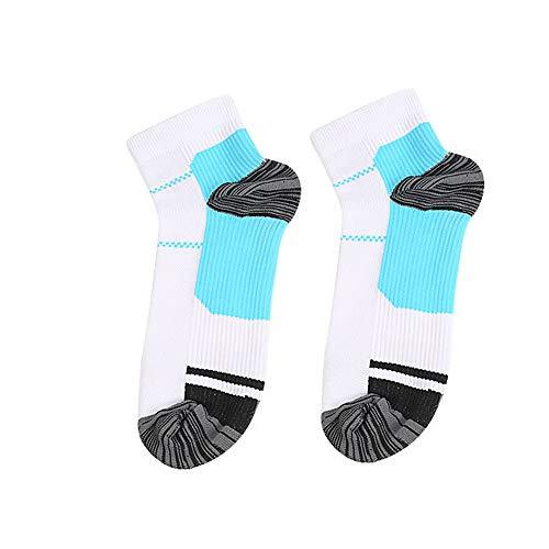 CapsA Compression Socks Women and Men,Ankle Compression Socks Running Socks,Athletic Socks Arch Support Best for Medical, Running, Travel, Nurses (Blue, L)