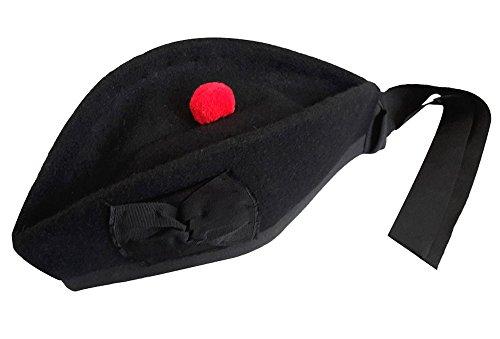 Maze Schottische Glengarry-Mütze, aus 100% reiner Wolle Gr. 62cm UK 7 3/4 US 7 7/8, Plain Black