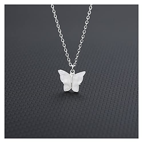 ACEACE Lindas Collares de Mariposa Mujeres acrílico Oro Color clavícula Gargantilla Collares de Moda joyería Collares (Metal Color : N02078S-white)