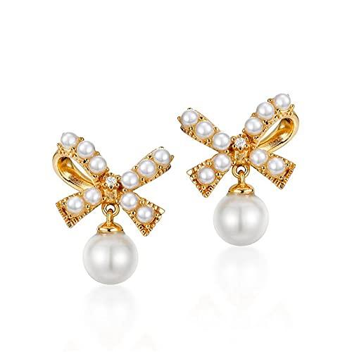 yuge Pendientes colgantes de plata de ley 925, adecuados para damas glamorosas, con perlas naturales de oro y plata de la joyería de la boda regalos blancos