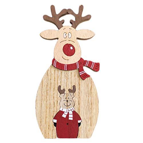 UKtrade 2020 Feliz Año Nuevo Navidad Madera Mini Árbol de Navidad Adornos de escritorio Feliz Navidad Decoración de la casa (B)