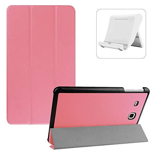 Shinyzone Hülle für Samsung Galaxy Tab E 9.6 T560/T565,Ultradünn Superleicht PU Leder Dreifach Ständer Smart Cover mit Auto Wake/Sleep Funktion + Handyhalterung,Rosa