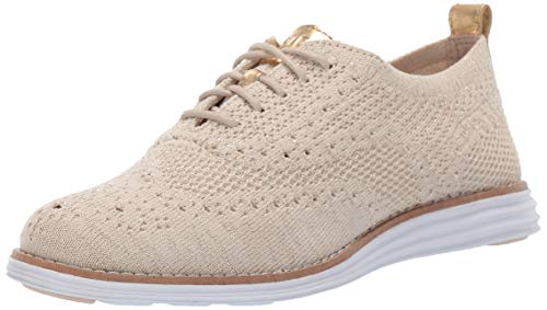 Cole Haan Women's Original Grand Stitchlite Wing Oxford, Brazilian Sand/ch Gold Metallic, 9 B US
