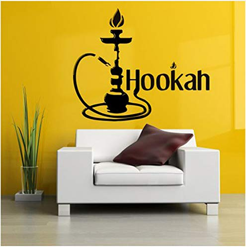 Wasserpfeife Wandaufkleber Wasserpfeife Rauch Dampf Tabak Rauch Vorhang Wand Glasapplikation Vinyl dekorative Wandkunst leicht zu entfernen 42x51cm