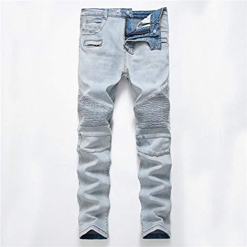 Jeans 100% Baumwolle Streetwear Herren Skinny Biker Jeans Homme Straight Männlich Motorrad Hip Hop Jeanshose Jogger Runway Jean 29 1788Off-W