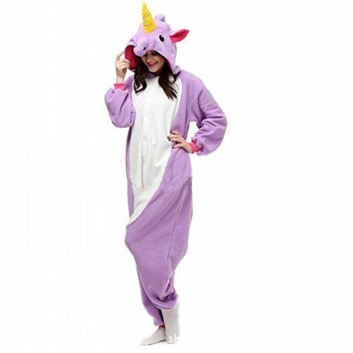 misslight Unicorn Pyjamas Dames Combinaisons Costumes Animaux Tenue d'animaux Pyjama grenouillère Animaux avec Le Festival de Costumes Licorne Adultes Ajustement (M, Purple)