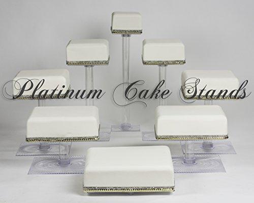 8Etagen Cascade Hochzeit Kuchen Cupcake-Ständer eckig (Style sq845)