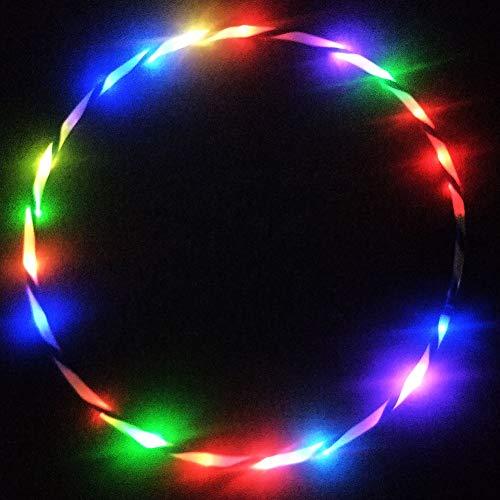 Artbro LED Hoola Hoop Reifen Fitness Erwachsene Kinder, 10/14/18/24 LED Farbe Strobing Changing Tragbare Hoola Hup 60/70/80/90cm