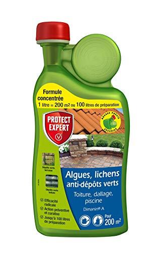 PROTECT EXPERT DIMA1N | Anti Algues | Lichens | Anti-Dépôt Vert | Concentré 1L pour 100L de Solution | 200m² | Toiture | Terrasse | Dalles | Piscine