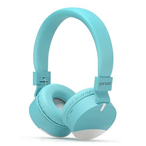 gorsun Premium Kopfhörer für Kinder, Bluetooth Kinderkopfhörer mit Gehörschutz, Leichte Kinder Kopfhörer mit Faltbare Kopfband, blau