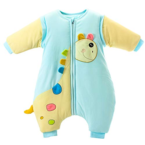 Saco de dormir para bebé con patas, forro cálido, de algodón, desmontable, con pies Azul3.5tog azul 2-3 años