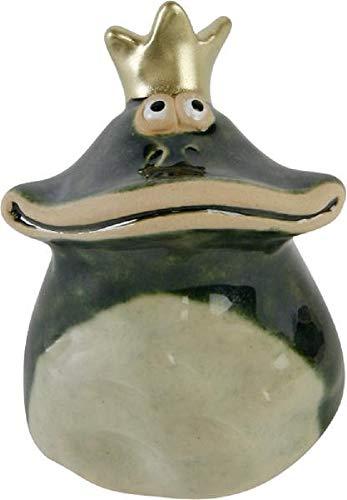 Home Collection Frosch Froschkönig mit Goldener Krone Breitmaulfrosch H7,1cm beige/grün aus Keramik