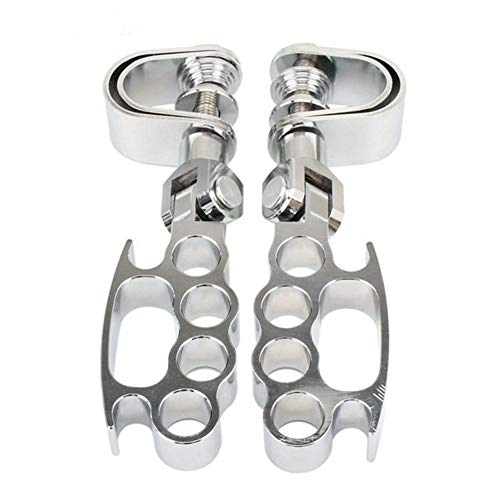 Foot pedal 1Pair Flying Knuckle Motorcycle Highway Foot Pegs Footrest 25mm - 32mm Mount For Harley Ho-n-da Yamaha Kawasaki Chopper Black/Chrome for Bike Bicycle (Color : Chrome)