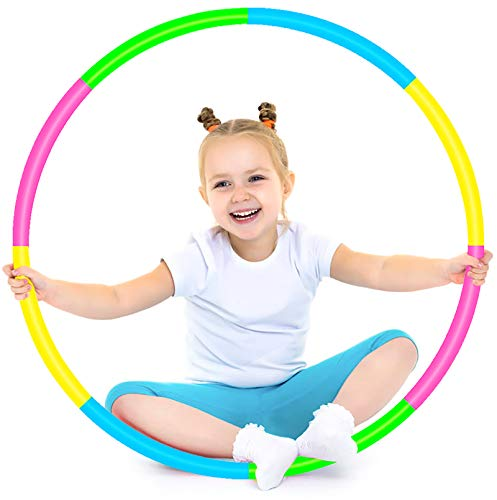 SIERLIKY Hoola Hoop for Kids, Detachable Adjustable Weight Size Colorful Hoola Hoop for Toy Gifts, Gymnastics, Playing Lose Weight, Suitable as Boys and Girls