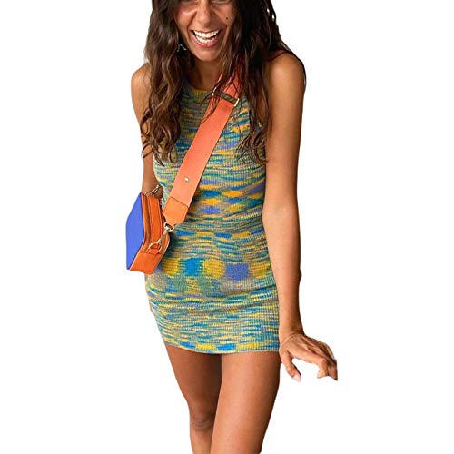 KMBANGI Women Sleeveless Bodycon Knitted Dress Halter Neck Backless Midi Dress Summer Beach Short Tank Dress Y2k Streetwear(Tank Green, S)