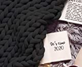 Knitted Blanket Chunky XXL Braided Knot Throw 80x80 Inches - Knit Crochet Vegan Cozy Knotted Comforter Bedding Blankets - Black