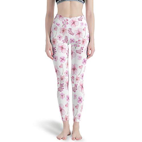 Gamoii Leggings de yoga para mujer, diseño de flores, color rosa blanco XXXXL