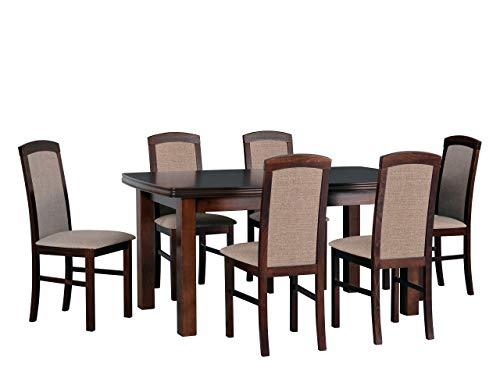 Mirjan24 Esstisch mit 6 Stühlen DM06, Esstisch Stuhlset, Tischgruppe, Esstischgruppe, Sitzgruppe, Esszimmergarnitur, Esszimmer Set, DMXZ (Nuss/Nuss Inari 23)