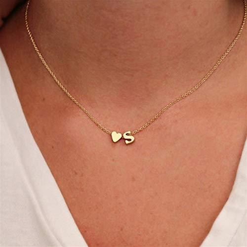 Collar De La Letra Del Color Oro Plata Nombre Gargantilla For Las Mujeres Joyería Colgante De Regalo #345 (Main Stone Color : Gold, Metal Color : J)