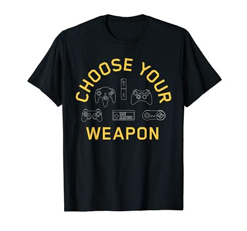 Gamer Shirt Choose Your Weapon Kids Teens Video Game T-Shirt