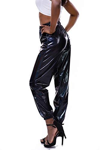 Fashion Shopping Zaxicht Women's Metallic Shinny Pants, Casual Holographic Jogger Sweatpants