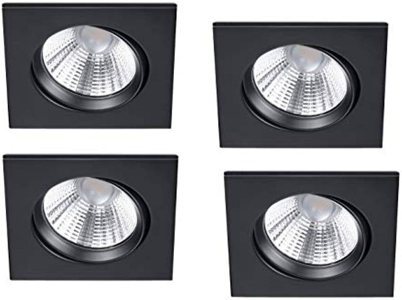 LED Einbaustrahler im 4er Set eckig schwenkbar dimmbar Schwarz matt 5,5 Watt - flexible moderne Deckenbeleuchtung, Trio Leuchten