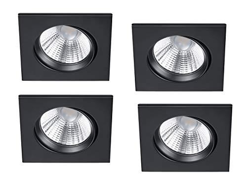 Lot de 4 spots LED encastrables carrés orientables à intensité variable Noir mat 5,5 W
