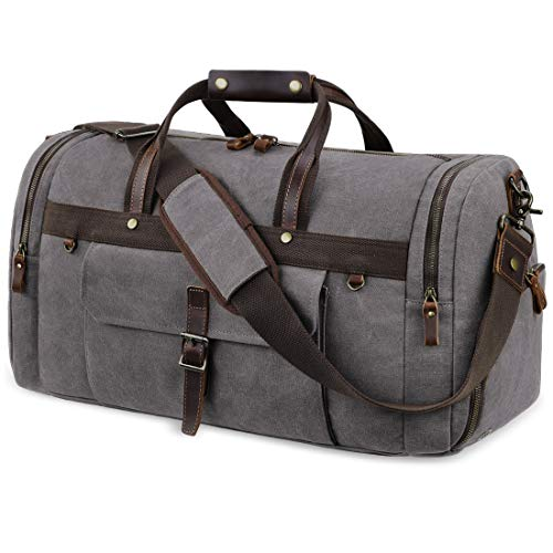 Travel Duffel Bag Waterproof Duffle Bags for Men Oversized Genuine Leather Carryon Weekend bag Canvas Overnight Bag Grey