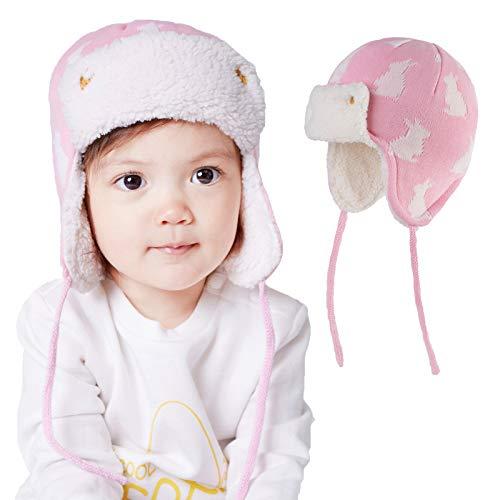 Sombrero de Bebé Gorro de Bebé Niña Niño Conejito con Orejeras Beanie Gorro de Punto Cálido para Invierno, 0 a 1 años
