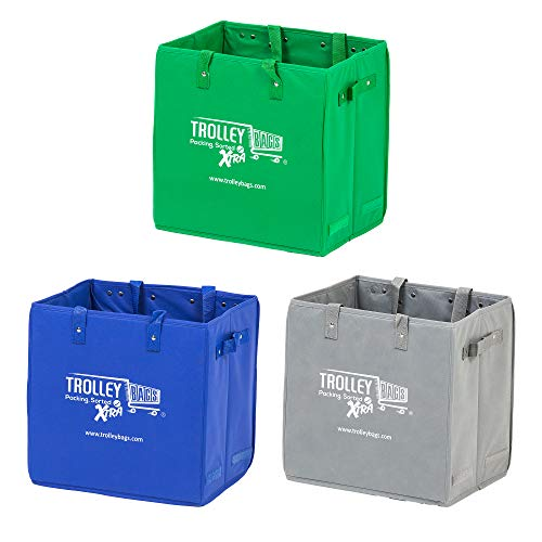 Trolley Bags Xtra Bag Grocery Shopping Box Multi-Use Bags with Handles Collapsible (3 Pack -Mixed)