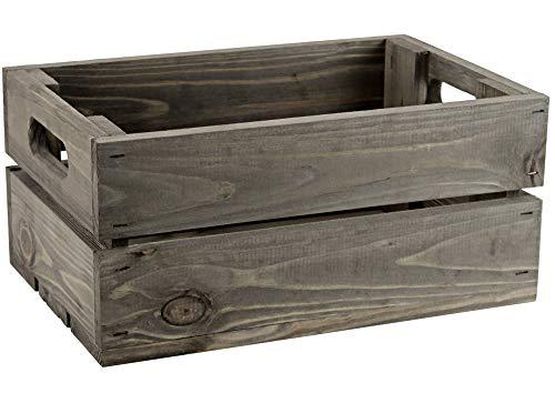Kleine Holzkiste - Stiege - Steige - Mini - dunkelgrau gebeizt - Geschenkverpackung - Geschenkidee - Präsentkorb - leer