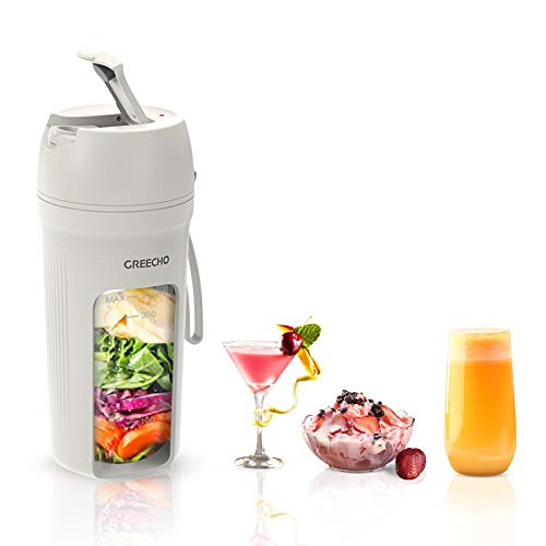 GREECHO Portable Blender, One-handed Drinking Mini Blender for Shakes and Smoothies, 12 oz Personal Blender with Rechargeable USB, Made with BPA-Free Material Portable Juicer, Elegant Matte White
