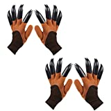 Garden Genie Gloves with Claws, Waterproof and Breathable Garden Gloves for Digging Planting, Best Gardening Gifts for Women and Men (Brown Claw 2 Pairs)
