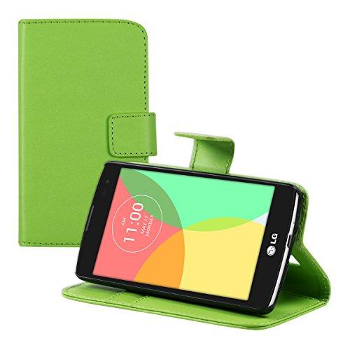 kwmobile LG L Fino Hülle - Kunstleder Wallet Case für LG L Fino mit Kartenfächern & Stand - Grün