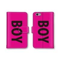 【ノーブランド品】 AQUOS Xx 404SH スマホケース 手帳型 BOY ボーイ 英字 ピンク かわいい おしゃれ 携帯カバー 404SH ケース 携帯ケース