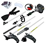 UWINGARDEN 52CC Petrol Long Reach Multi Function 5 in 1 Garden Tool - Hedge Trimmer, Brush Cutter, Chainsaw Pruner, Grass Trimmer & Extension Pole