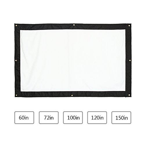 Zerone Projection Screen 16:9 HD Foldable Anti-crease Portable Projector Movies Screen for Home Theater Outdoor Indoor Support Double Sided Projection(72inch)