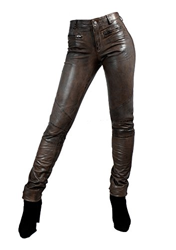 Unbekannt Yonna Damen Lederhose aus echtem Lamm Nappa Leder in diversen Farben (Braun, S)