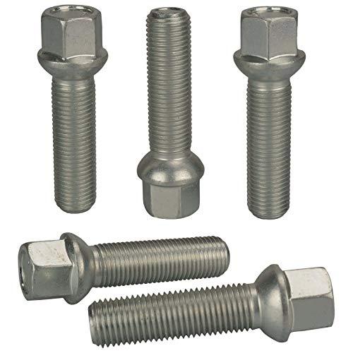 Haskyy 10 Radschrauben Radbolzen Silber verzinkt Kugelbund R13 Kugel M14x1,5 in verschiedenen Schaftlängen zur Auswahl (40mm)