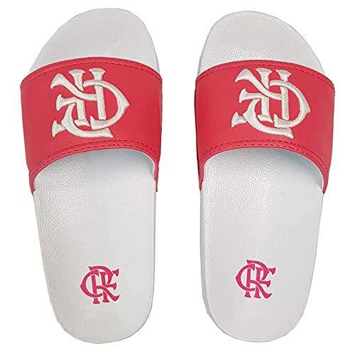 Chinelo Flamengo Slide Kids CRF Bordado 2018 Outubro Rosa Branco/Pink 31/32