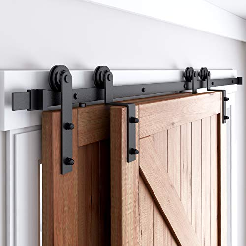 SMARTSMITH 4 FT- 12 FT Bypass Barn Door Hardware Kit, Single Track, Space Saving Double Wooden Doors Use, Low Ceiling Flat Track Roller (10ft Single Track Bypass)