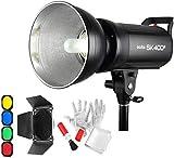 Godox SK400II スタジオストロボ 撮影フラッシュ 400Ws GN65 5600K ボーエンズマウント モノライト 150Wモデリングランプ 1 / 16-1 / 140ステップ出力 BD-04標準リフレクターディフューザー同梱