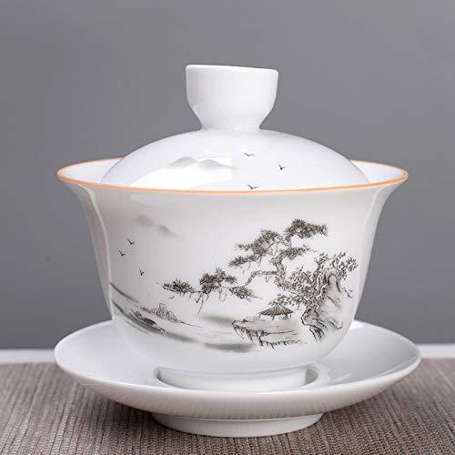 RXQCAOXIA China Traditionelle Teetasse, Keramik Gaiwan Sancai Teeschale Teeservice, Chinesisches Porzellan Kung Fu Teetasse und Untertasse mit Deckel-E.