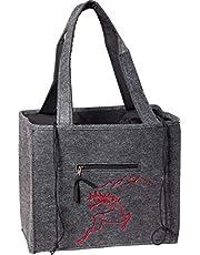 Vilten tas met geborduurde hersenapplicatie (rood) stoffen trekkoord en naast tas schouder handvat 3535/55/35BG 38x20x19/60 cm