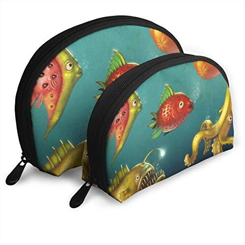 Deep Sea Fruit Fish Bolsas portátiles bolsa de embrague monedero cosmético viaje...