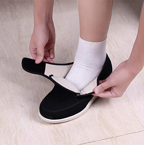 B/H Sandalias Mujer Hombre Zapatillas De Estar,Agregue Fertilizante y ensanche losZapatos, Zapatos Anti-hinchazón de Mediana Edad y Ancianos-Azul Marino_41