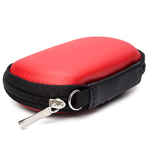 GUANHE Organizador Portátil para Accesorios Electrónicos Mini Funda Impermeabile de Accesorios Digitales para Cables USB Auriculares Caja Bolsa con Cremallera de viajes (105*65*33mm), Rojo